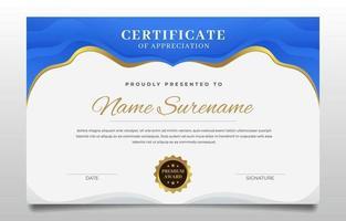 certificado de graduação uma combinação de azul e ouro