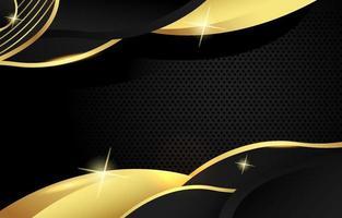 fundo preto e dourado ondulado vetor
