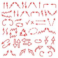 Os ícones desenhados mão das setas ajustaram-se isolado no fundo branco. Cartas de negócios, gráficos, infográficos vetor