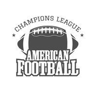 Distintivo de liga de campeões de futebol americano, logotipo, etiqueta, insígnias em estilo retrô cor. Design gráfico vintage para t-shirt, web. Impressão monocromática isolada em um fundo escuro. Vetor