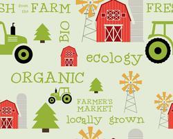 Eco e padrão sem emenda orgânico. Projeto de mercado do fazendeiro. Para produtos orgânicos, lojas, sites, aplicativos para dispositivos móveis. Ecologia e tema verde. Vetor. vetor