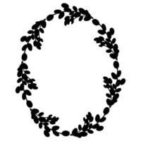 salgueiro easterreath.oval coroa de ramos de salgueiro ilustração vetorial isolada em um fundo branco. design para a páscoa, casamento, decoração de primavera vetor
