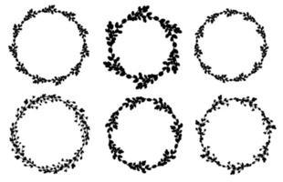 conjunto de coroa de salgueiro. coroa de flores redonda. silhueta de moldura preta redonda. ilustração plana do vetor. design para a Páscoa, casamentos, convites, impressão. ilustração vetorial vetor