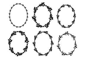 conjunto de guirlandas de salgueiro de Páscoa. Coroa floral de val silhueta de moldura oval preta. ilustração plana do vetor. design para a páscoa, casamentos, convites, impressão vetor