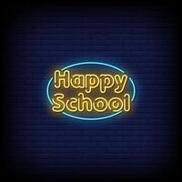 vetor de texto estilo letreiro de néon feliz escolar