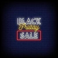 Vetor de texto de estilo de sinais de néon de venda sexta-feira negra