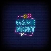 jogo noturno sinais de néon estilo texto vetor
