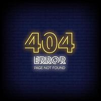 Página 404 não encontrada vetor de texto de estilo de sinais de néon