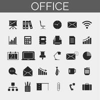 Conjunto de ícones de negócios e escritório. Ícones da silhueta na moda para web e móvel. vetor