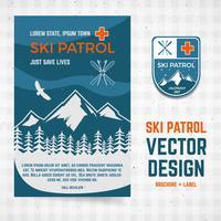 Brochura de vetor de patrulha de esqui e rótulo. O conceito de acampamento do flyer para o seu negócio, web sites, apresentações, publicidade etc. Ilustrações de design de qualidade, elementos. Apartamento estilo ao ar livre. Design de banner