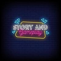 história e jogo jogo vetor de texto estilo sinais de néon