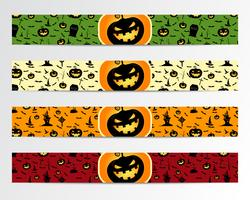 Quatro bandeiras de Halloween com projetos verdes, vermelhos, brilhantes e laranja. Pode ser usado na web, imprimir. Como convite, flyer card, cartaz de halloween etc. Design agradável para celebração. Vetor. vetor