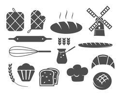 Conjunto de ícones de silhueta de padaria e elementos de design, símbolos. Pão fresco, modelos de logotipo de bolos. Estilo vintage monocromático. Emblema do queque Vetor