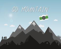 Ir projeto de conceito de montanha. Ilustração de viagens ao ar livre com a silhueta, árvore, bicicleta, tenda. Câmera colorida. Melhor fundo de campismo. Vetor