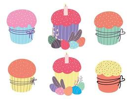 conjunto de bolos de Páscoa. bolinho de Páscoa fofo. design para a páscoa, aniversário, feriados. ilustração em vetor plana