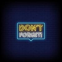 não se esqueça do vetor de texto de estilo de sinais de néon
