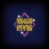 cinco sinais de néon alto estilo vetor de texto