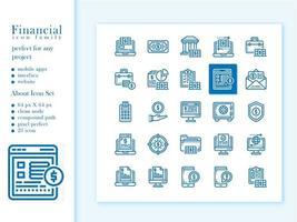 pacote de ícones financeiro com contorno de estilo vetor