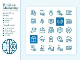 pacote de ícones de processo de marketing com contorno de estilo vetor