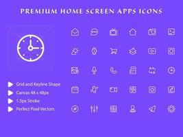 pacote de ícones de aplicativos da tela inicial vetor