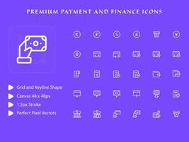 pacote de ícones de pagamentos e finanças vetor
