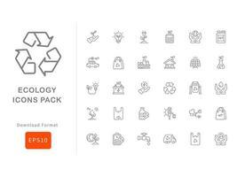 pacote de ícones de ecologia vetor
