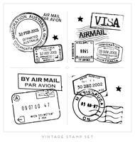 Coleção de selos vintage vetor