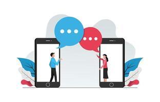 conceito online webchatting. homem e mulher conversando de ilustração vetorial de telefone. vetor