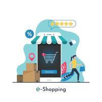 conceito de e-shopping com minúscula personagem de mulher comprando itens de ilustração vetorial de smartphone. vetor