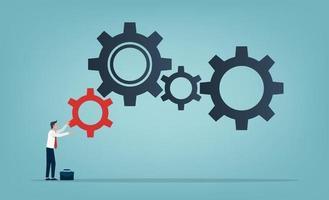empresário rolando uma pequena engrenagem vermelha para o símbolo de engrenagens grandes. ilustração de conceito de negócio e aumento de eficiência e produtividade. vetor