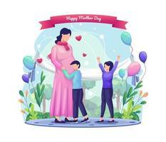 as crianças ficam felizes em comemorar a mãe que está grávida. ilustração vetorial de saudação de feliz dia das mães vetor