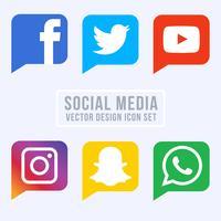 Coleção de ícones de mídia social vetor