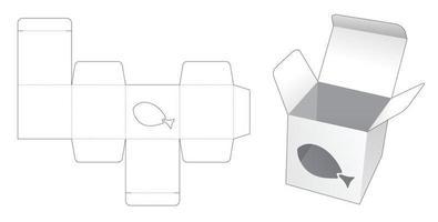 mini caixa com janela em formato de peixe e molde recortado vetor