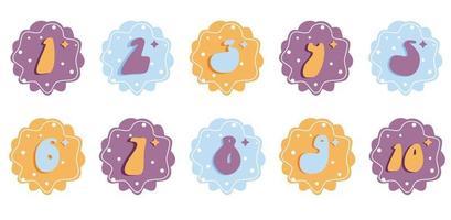 números de bebê multicoloridos de desenho vetorial, ilustração de crianças, modelo de cartão de aniversário fofo vetor