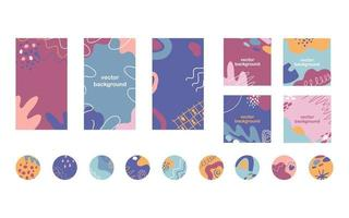 destaques de mídia social, posts de banner e modelo de histórias. conjunto de fundo vector na moda com formas abstratas, linhas, pontos, detalhes florais e texto editável.