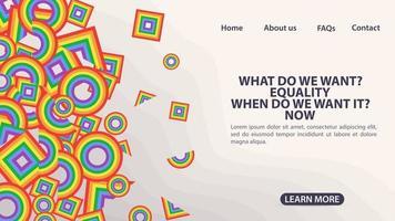 design para a página de destino de um site e uma bandeira de arco-íris de aplicativos móveis na forma de quadrados, círculos e triângulos espaço de símbolo lgbt para informações e botões de navegação no site vetor