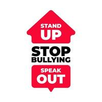 levantar-se, falar, parar de citações de bullying vetor