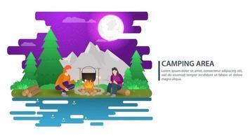 ilustração da paisagem à noite em estilo simples desenho animado pessoas sentam-se ao redor de uma fogueira e cozinham comida montanhas floresta fundo para acampamento de verão turismo natureza acampamento ou caminhadas conceito design vetor