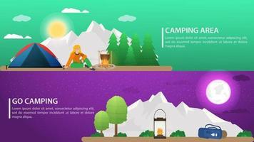 dia e noite paisagem de fundo para acampamento de verão turismo natureza acampamento ou caminhada web design conceito montanhas floresta natureza ilustração vetorial plana vetor