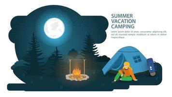 banner para o projeto de acampamento de verão em uma clareira na floresta há uma barraca para turistas ao lado de uma pessoa sentada e descansando contra o fundo da lua noturna. vetor