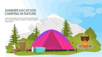 banner para o projeto de acampamento de verão uma barraca de turista fica em uma clareira na floresta ao lado de um fogo cozinhando comida no fundo de montanhas. vetor