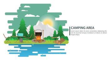 ilustração da paisagem à noite em estilo simples desenho animado sol poente atrás das montanhas na floresta fogo madeira e fundo de alimentos para acampamento de verão turismo de natureza camping ou caminhada conceito de design vetor