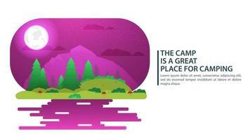 noite lua paisagem fundo para acampamento de verão turismo natureza acampamento ou caminhada web design conceito montanhas floresta agulhas e folhas ilustração em vetor natureza plana