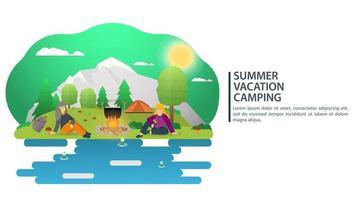 dia ensolarado paisagem fundo para acampamento de verão turismo natureza acampamento ou caminhada web design conceito pessoas sentadas ao redor de uma fogueira com ilustração vetorial de comida plana vetor