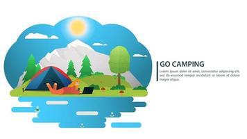 dia ensolarado paisagem fundo para acampamento de verão turismo natureza acampamento ou caminhada conceito de web design uma garota está deitada ao lado de uma barraca ilustração vetorial plana vetor