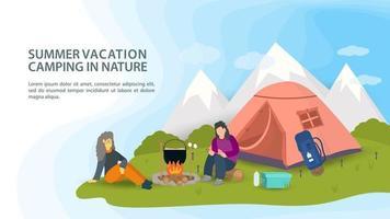 banner para design acampamento de verão na natureza pessoas sentadas ao redor de uma fogueira preparando comida ao lado de uma barraca no fundo de montanhas ilustração vetorial plana vetor
