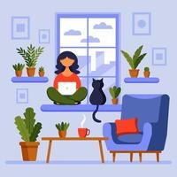 conceito de escritório em casa, menina com laptop. uma mulher trabalha em casa sentada na janela. freelance ou estudando, conceito de estudante ou freelancer. vetor