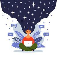 ilustração do conceito feminino, mulher bonita, céu noturno de cabelo cheio de estrelas. mulher com laptop sentado na natureza com as pernas cruzadas. ilustração vetorial no estilo cartoon plana. vetor