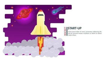 banner foguete espacial voando acima das nuvens para as estrelas e planetas conceito de inicialização para web e sites móveis design ilustração vetorial plana vetor