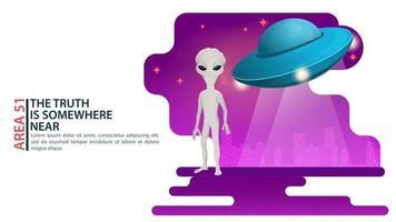 um alienígena está no fundo da cidade ao lado de um conceito de design de disco voador OVNI ilustração plana em vetor